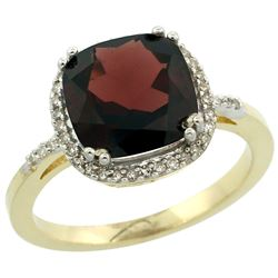 Natural 4.11 ctw Garnet & Diamond Engagement Ring 14K Yellow Gold - REF-48Y2X