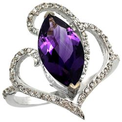 Natural 3.33 ctw Amethyst & Diamond Engagement Ring 14K White Gold - REF-77R5Z