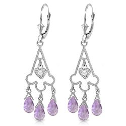 Genuine 4.83 ctw Amethyst & Diamond Earrings Jewelry 14KT White Gold - REF-52N7R