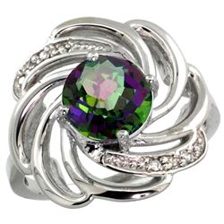 Natural 2.25 ctw mystic-topaz & Diamond Engagement Ring 14K White Gold - REF-57Y8X