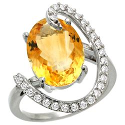 Natural 5.89 ctw Citrine & Diamond Engagement Ring 14K White Gold - REF-91W4K