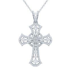 1.01 CTW Diamond Pendant 14K White Gold - REF-98F7N