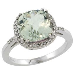Natural 4.11 ctw Green-amethyst & Diamond Engagement Ring 14K White Gold - REF-44M2H