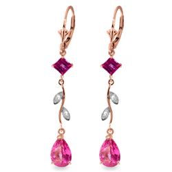 Genuine 3.97 ctw Pink Topaz & Diamond Earrings Jewelry 14KT Rose Gold - REF-46H2X