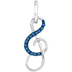 0.10 CTW Blue Color Diamond Treble Clef Music Pendant 10KT White Gold - REF-8H2M