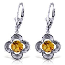 Genuine 1.10 ctw Citrine Earrings Jewelry 14KT White Gold - REF-37Y7F