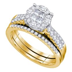 1 CTW Princess Diamond Soleil Bridal Engagement Ring 14KT Yellow Gold - REF-134Y9X