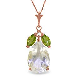 Genuine 6.5 ctw White Topaz & Peridot Necklace Jewelry 14KT Rose Gold - REF-38H2X
