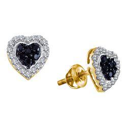 0.33 CTW Black Color Diamond Heart Love Earrings 10KT Yellow Gold - REF-26W9K