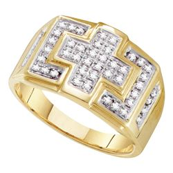 0.33 CTW Mens Diamond Square Cross Cluster Ring 10KT Yellow Gold - REF-37F5N