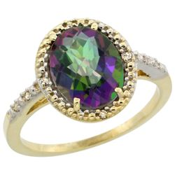 Natural 2.42 ctw Mystic-topaz & Diamond Engagement Ring 14K Yellow Gold - REF-34X7A