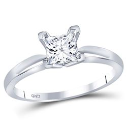 0.88 CTW Princess Diamond Solitaire Bridal Engagement Ring 14KT White Gold - REF-240Y2X