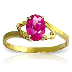 Genuine 1 ctw Pink Topaz Ring Jewelry 14KT Yellow Gold - REF-22Y5F