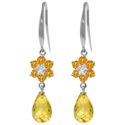Genuine 5.51 ctw Citrine & Diamond Earrings Jewelry 14KT White Gold - REF-47M4T