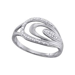 0.06 CTW Diamond Oval Fashion Ring 10KT White Gold - REF-12M2H