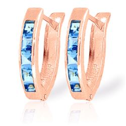 Genuine 1.20 ctw Blue Topaz Earrings Jewelry 14KT Rose Gold - REF-24P5H