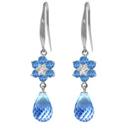 Genuine 5.51 ctw Blue Topaz & Diamond Earrings Jewelry 14KT White Gold - REF-47P4H