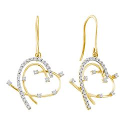0.30 CTW Diamond Wire Heart Dangle Earrings 14KT Yellow Gold - REF-34M4H