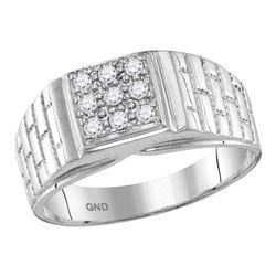 0.25 CTW Mens Diamond Square Cluster Brick Ring 10KT White Gold - REF-33M8H