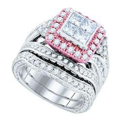 2.84 CTW Princess Diamond Bridal Engagement Ring 14KT White Gold - REF-359W9K