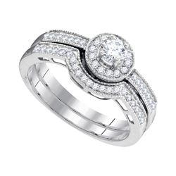 0.50 CTW Diamond Bridal Wedding Engagement Ring 10KT White Gold - REF-52F4N