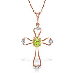 Genuine 0.57 ctw Peridot & Diamond Necklace Jewelry 14KT Rose Gold - REF-40K8V
