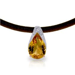 Genuine 6 ctw Citrine Necklace Jewelry 14KT Rose Gold - REF-30X5M