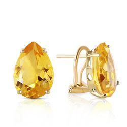 Genuine 10 ctw Citrine Earrings Jewelry 14KT Yellow Gold - REF-50R7P