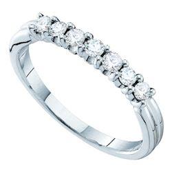 0.33 CTW Pave-set Diamond Single Row Wedding Ring 14KT White Gold - REF-33N8F