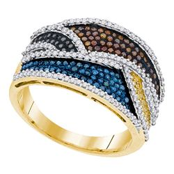 0.77 CTW Multicolor Diamond Fashion Ring 10KT Yellow Gold - REF-75X2Y
