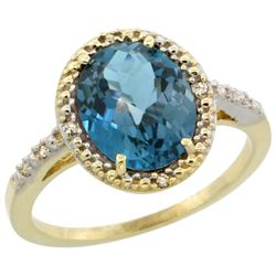 Natural 2.42 ctw London-blue-topaz & Diamond Engagement Ring 10K Yellow Gold - REF-26R2Z