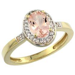 Natural 0.75 ctw Morganite & Diamond Engagement Ring 14K Yellow Gold - REF-33F7N