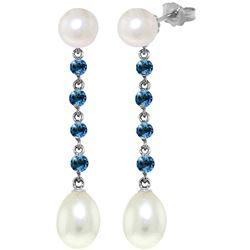 Genuine 11 ctw Blue Topaz & Pearl Earrings Jewelry 14KT White Gold - REF-28W8Y