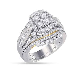 1.58 CTW Diamond Cluster Bridal Engagement Ring 14KT Two-tone Gold - REF-157H5M