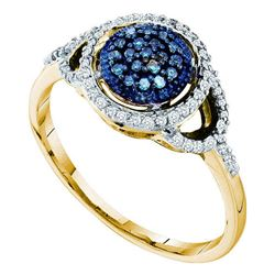 0.25 CTW Blue Color Diamond Framed Cluster Ring 10KT Yellow Gold - REF-20Y9X