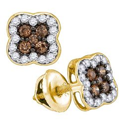 0.50 CTW Cognac-brown Color Diamond Square Cluster Earrings 10KT Yellow Gold - REF-25F4N