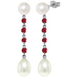 Genuine 11 ctw Pearl & Ruby Earrings Jewelry 14KT White Gold - REF-31F4Z