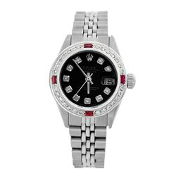 Rolex Pre-owned 26mm Womens Custom Black Stainless Steel - REF-470K2X