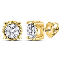 0.10 CTW Diamond Flower Cluster Milgrain Stud Earrings 10KT Yellow Gold - REF-10K5W