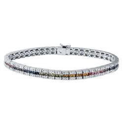 5.35 CTW Multi-Color Sapphire & Diamond Bracelet 14K White Gold - REF-176N9Y