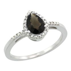 Natural 1.53 ctw smoky-topaz & Diamond Engagement Ring 14K White Gold - REF-25R5Z
