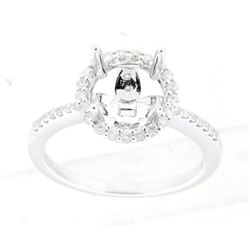 0.36 CTW Diamond Semi Mount Ring 14K White Gold - REF-40M7F