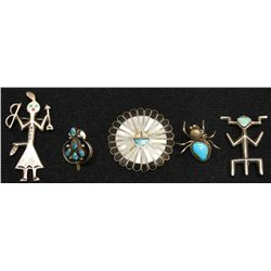 FIVE NAVAJO INDIAN PINS