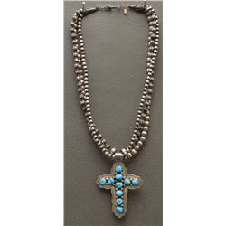 STERLING SILVER BEAD AND CROSS NECKLACE