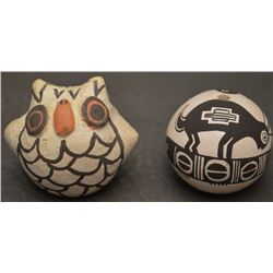 TWO ACOMA INDIAN POTTERY ITEMS (LEWIS / CONCHO)