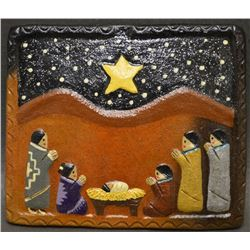 NAVAJO INDIAN POTTERY NATIVITY TILE (MANYGOATS)