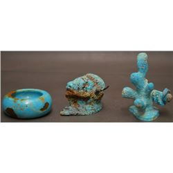 THREE HAND CARVED TURQUOISE ITEMS