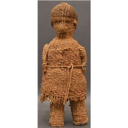 KLAMATH INDIAN TWINED BASKETRY FEMALE DOLL WITH CHILD