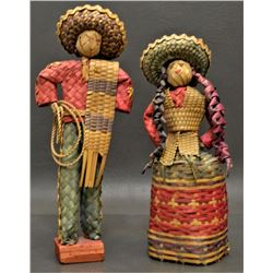 PAIR OF MEXICAN BASKETRY FIGURES