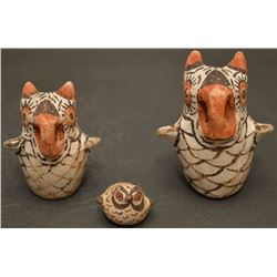 THREE ZUNI INDIAN POTTERY OWLS